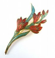 Vintage Large Cloisonne Enamel Red Flower Brooch By Fish And Crown.